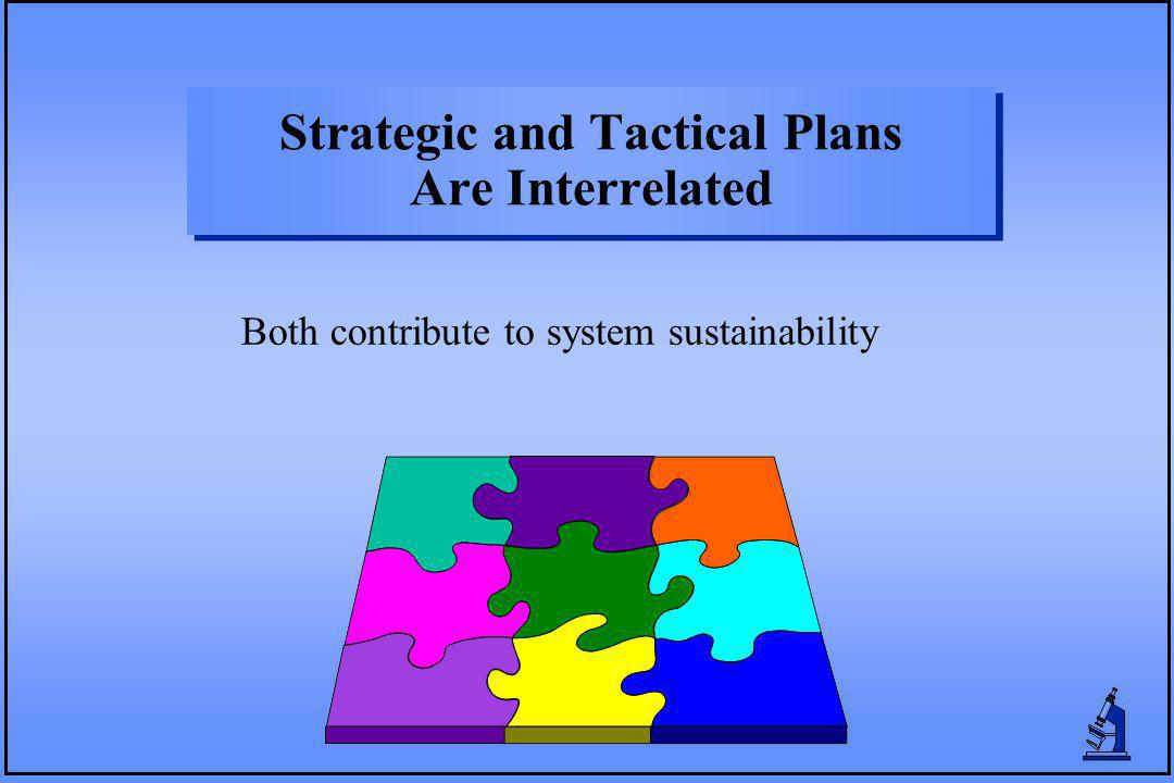 Strategic and Tactical Plans Are Interrelated Both contribute to system sustainability