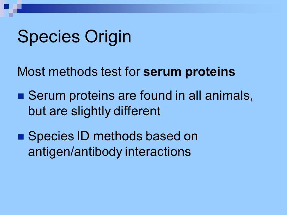 Species Origin Most methods test for serum proteins Serum proteins are found in all animals, but are slightly different Species ID methods based on an