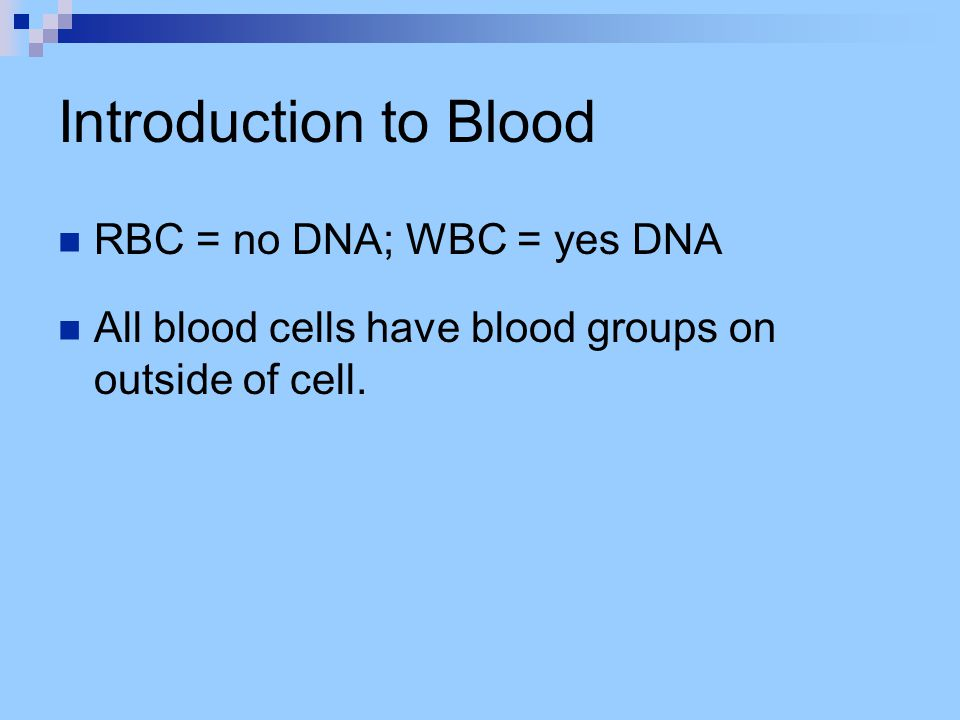 Introduction to Blood RBC = no DNA; WBC = yes DNA All blood cells have blood groups on outside of cell.