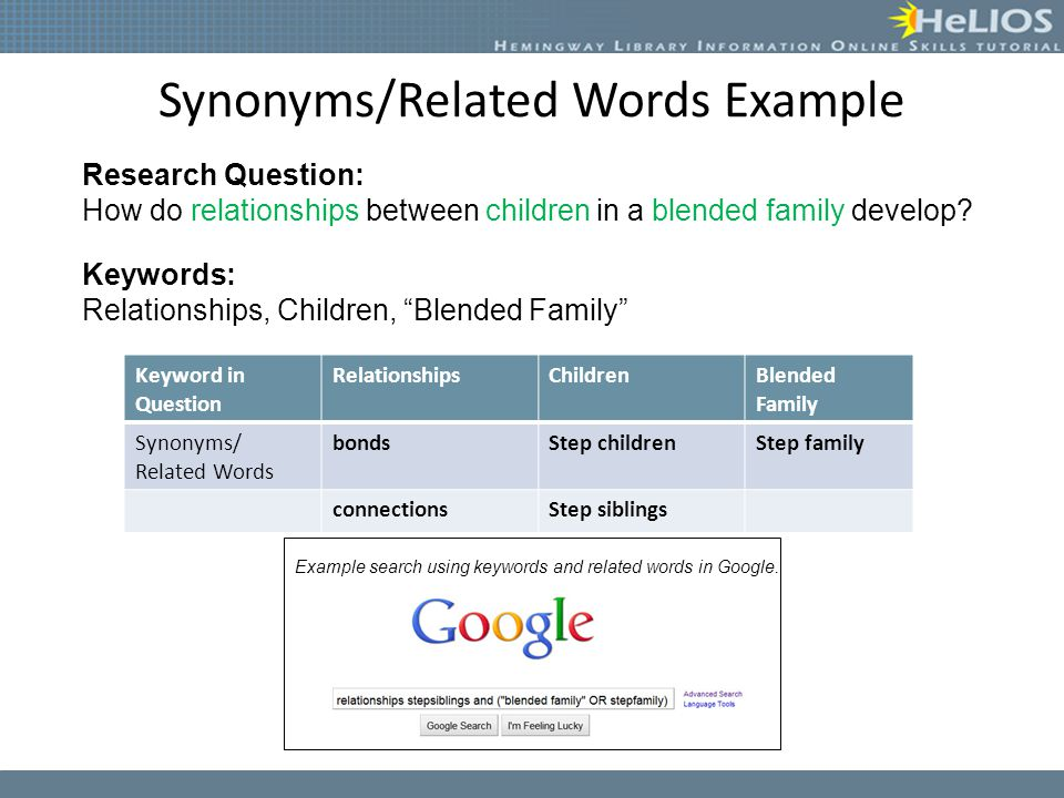 Synonyms/Related Words Example Research Question: How do relationships between children in a blended family develop? Keywords: Relationships, Children