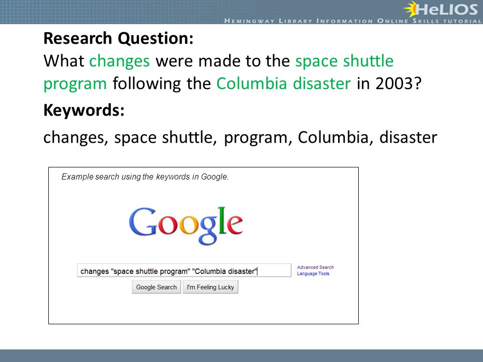 Research Question: What changes were made to the space shuttle program following the Columbia disaster in 2003? Keywords: changes, space shuttle, prog