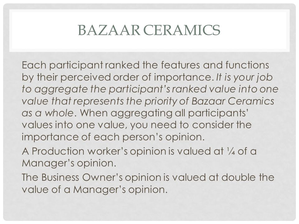 BAZAAR CERAMICS Each participant ranked the features and functions by their perceived order of importance. It is your job to aggregate the participant