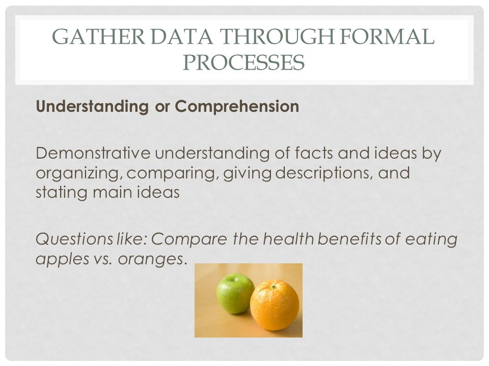 GATHER DATA THROUGH FORMAL PROCESSES Understanding or Comprehension Demonstrative understanding of facts and ideas by organizing, comparing, giving de