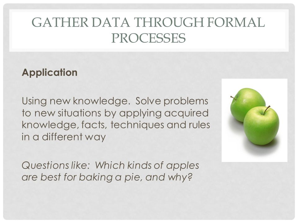 GATHER DATA THROUGH FORMAL PROCESSES Application Using new knowledge. Solve problems to new situations by applying acquired knowledge, facts, techniqu