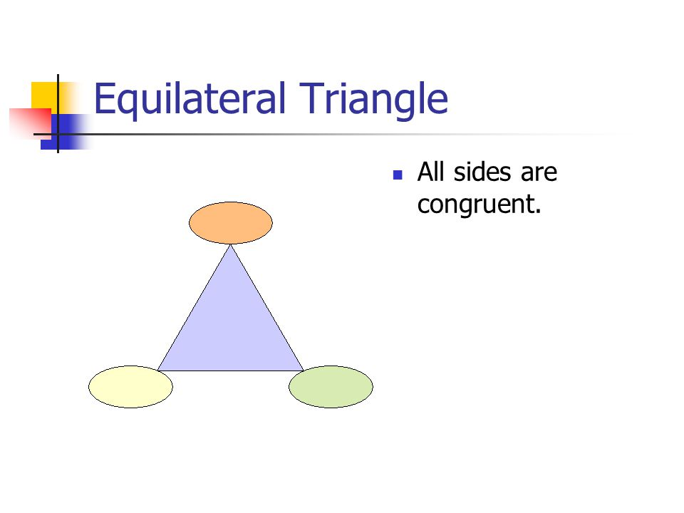 Isosceles Triangle At least two sides are congruent.