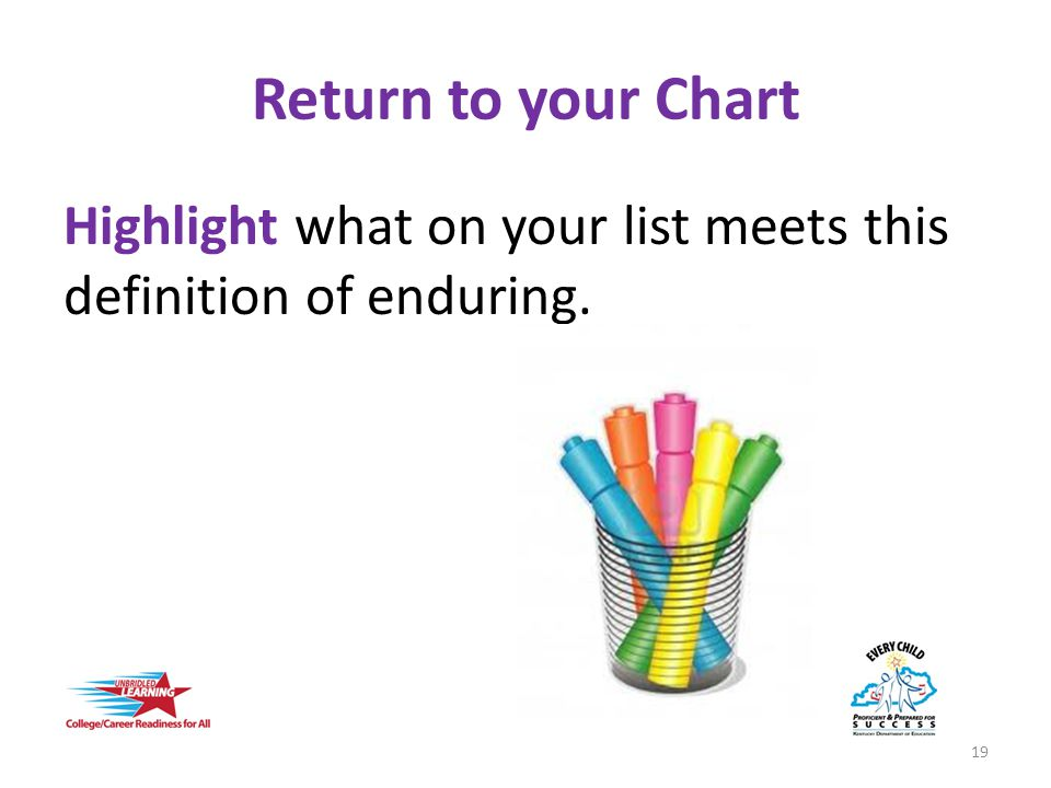 Return to your Chart Highlight what on your list meets this definition of enduring. 19