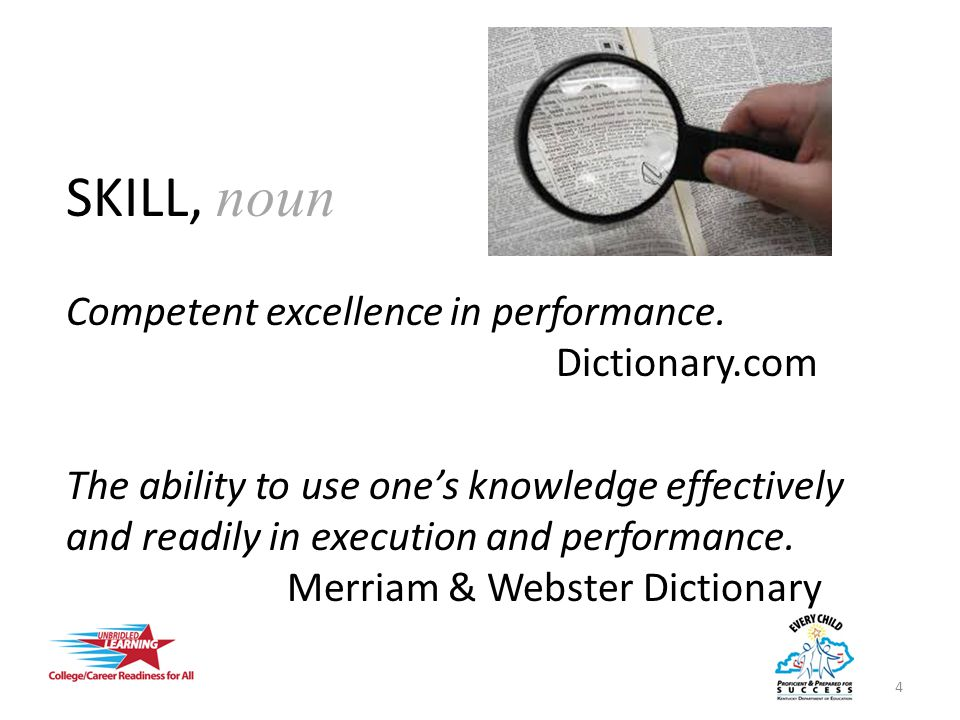 SKILL WHAT IT ISWHAT IT ISN'T Competency Ability to perform Examples: Reading and comprehending complex text 5