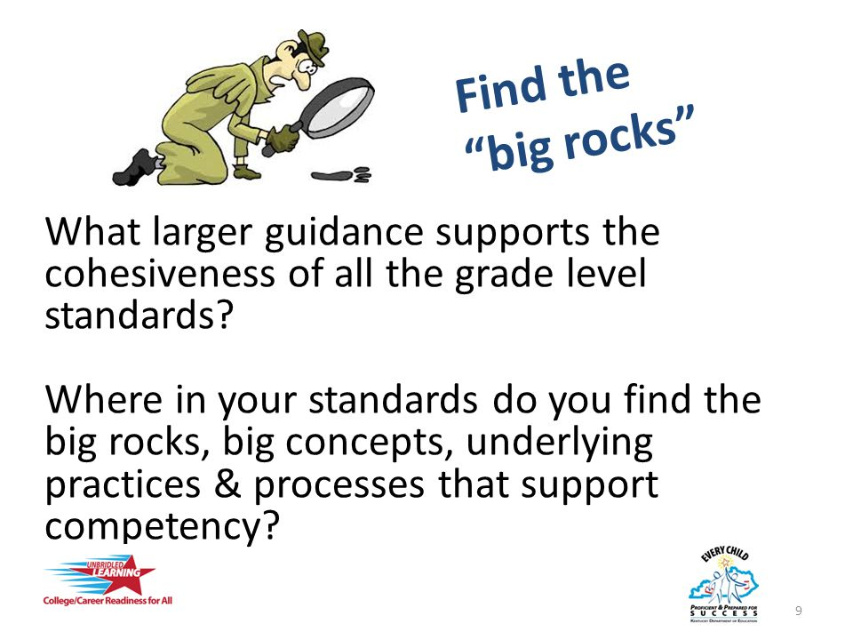 Find the big rocks What larger guidance supports the cohesiveness of all the grade level standards.