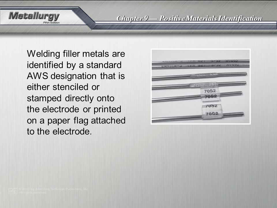 Chapter 9 — Positive Materials Identification Triboelectric sorting identifies unknown metals by measuring the voltage generated when two different metals are rubbed together.