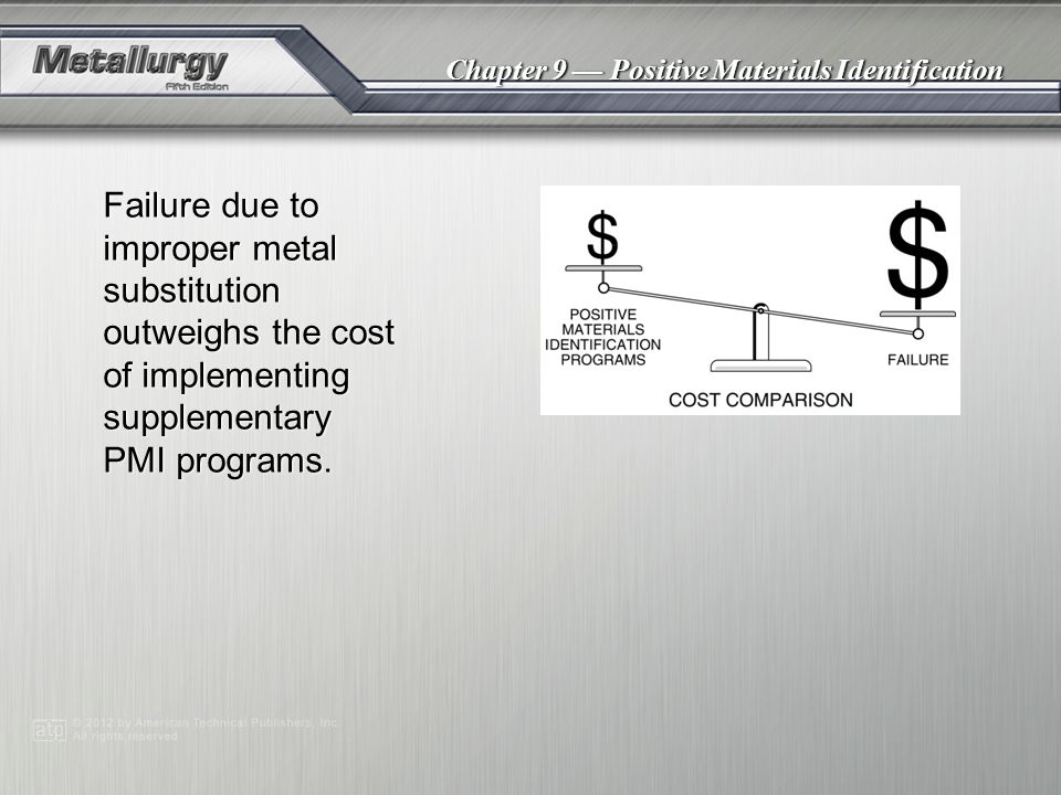 Chapter 9 — Positive Materials Identification Failure due to improper metal substitution outweighs the cost of implementing supplementary PMI programs.
