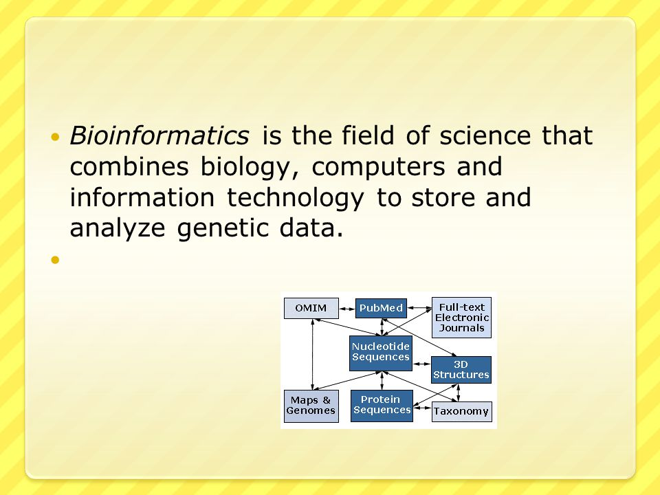Bioinformatics is the field of science that combines biology, computers and information technology to store and analyze genetic data.