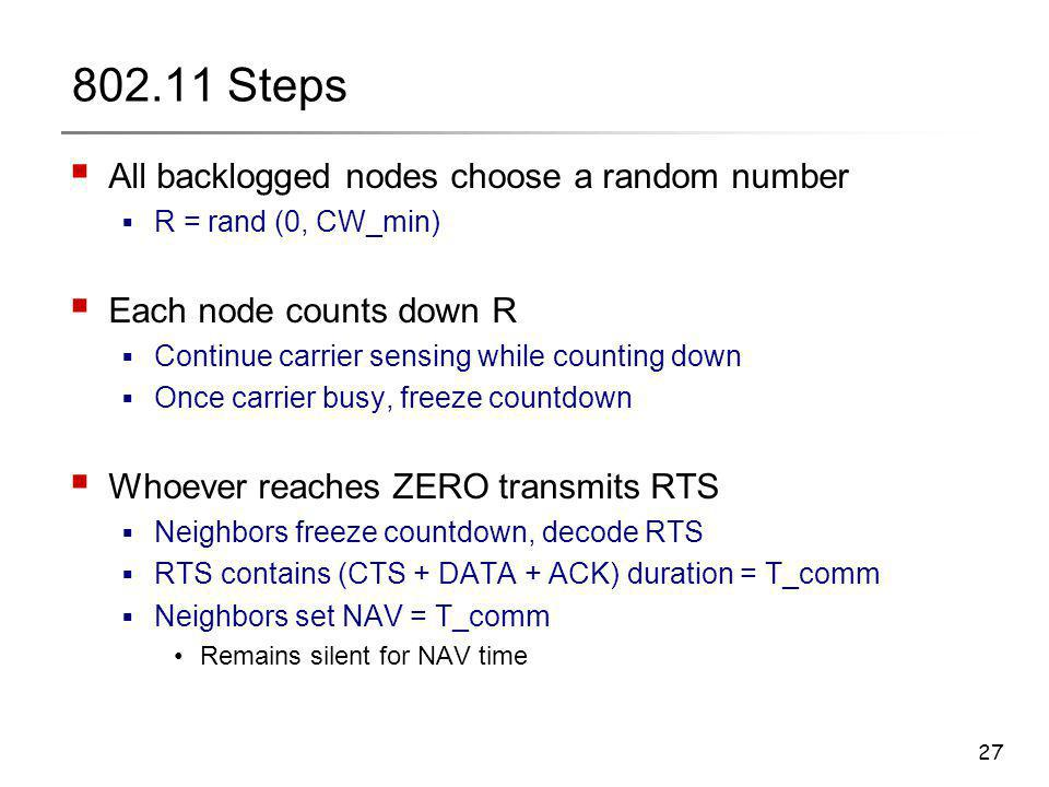 27 802.11 Steps  All backlogged nodes choose a random number  R = rand (0, CW_min)  Each node counts down R  Continue carrier sensing while counti