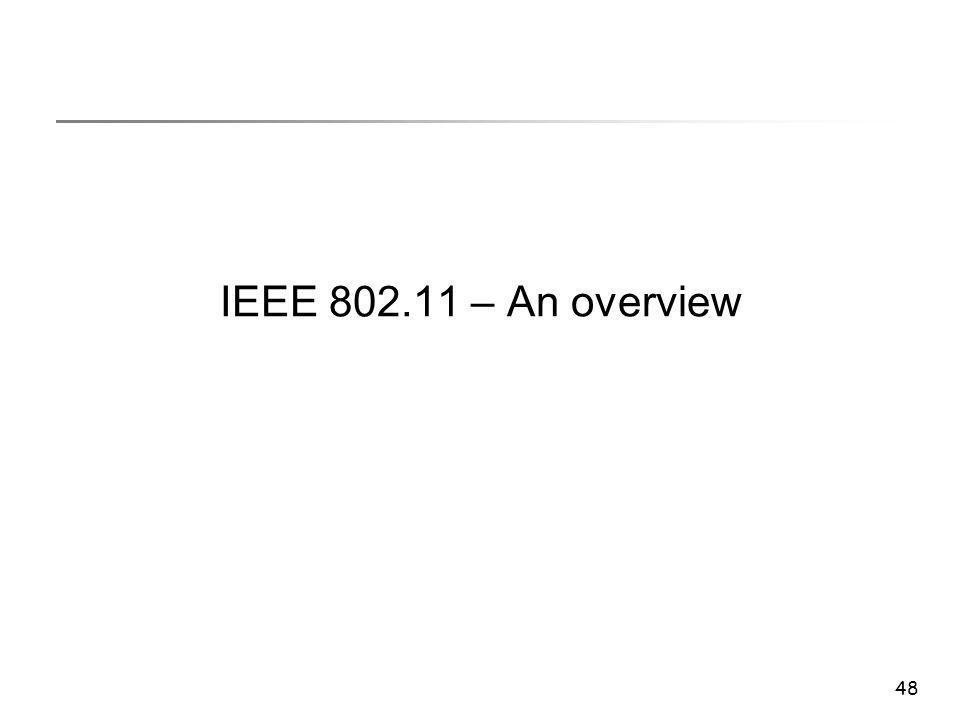 48 IEEE 802.11 – An overview