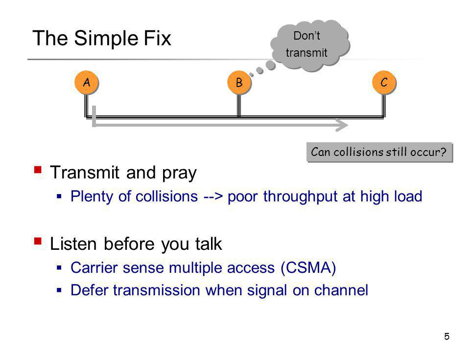 5 The Simple Fix  Transmit and pray  Plenty of collisions --> poor throughput at high load  Listen before you talk  Carrier sense multiple access