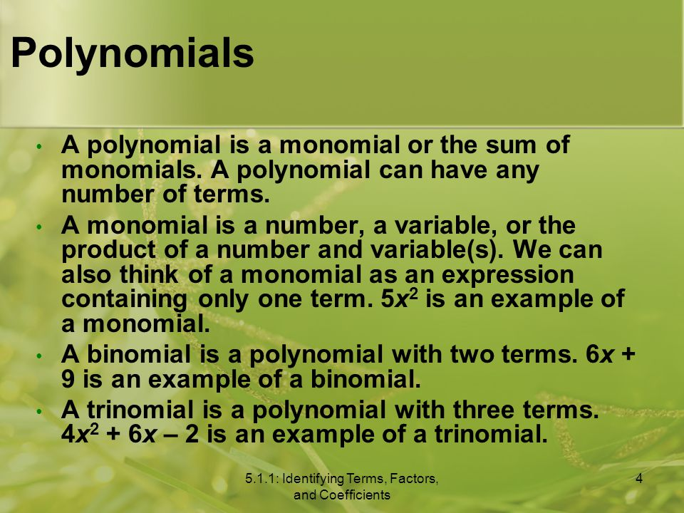 Polynomials A polynomial is a monomial or the sum of monomials.