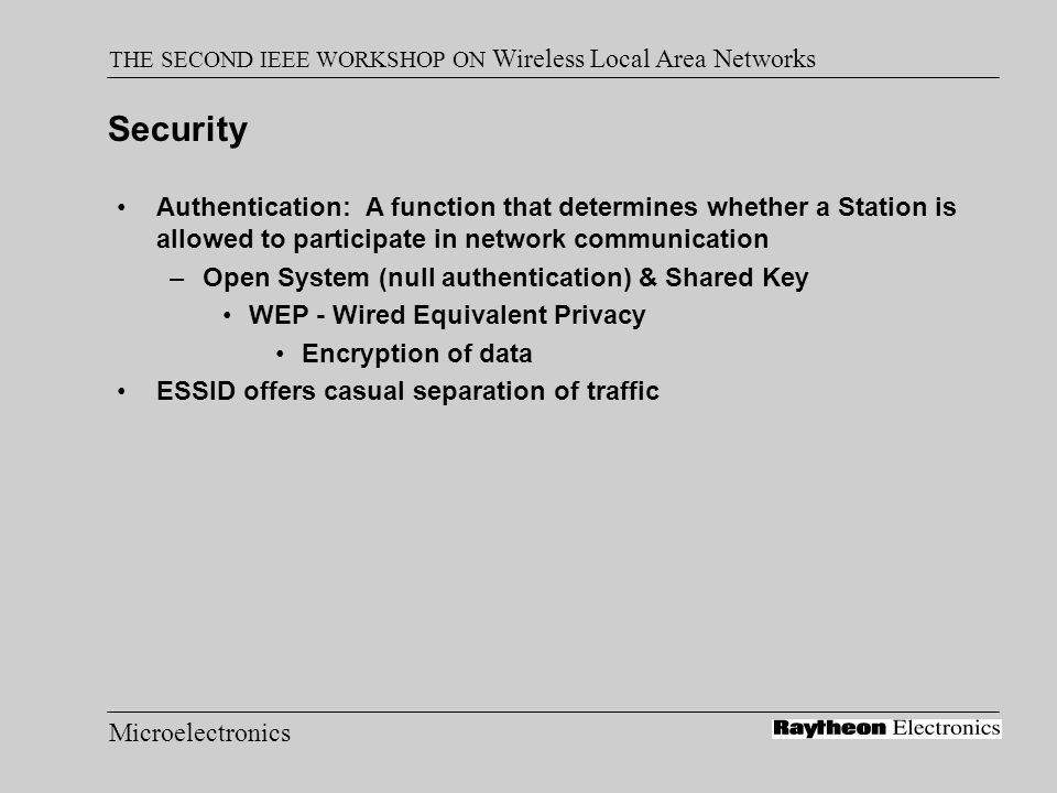 Microelectronics THE SECOND IEEE WORKSHOP ON Wireless Local Area Networks Security Authentication: A function that determines whether a Station is all