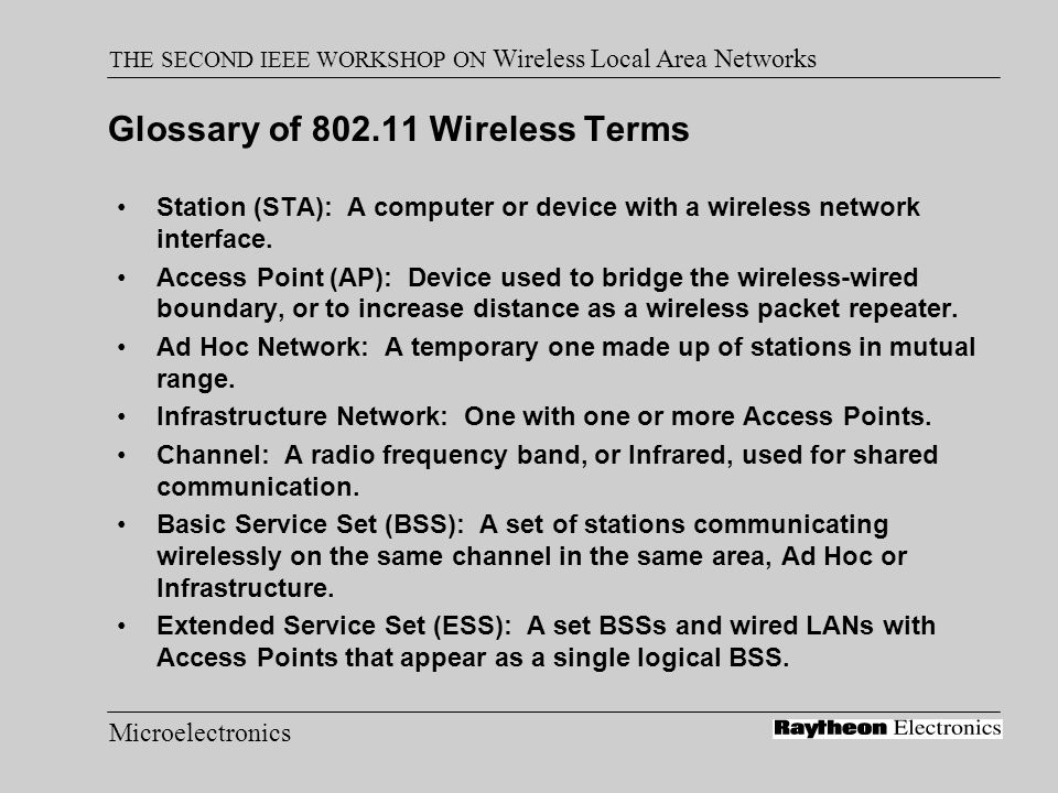 Microelectronics THE SECOND IEEE WORKSHOP ON Wireless Local Area Networks Glossary of 802.11 Wireless Terms Station (STA): A computer or device with a