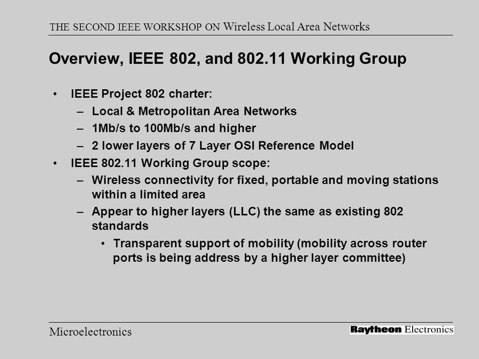 Microelectronics THE SECOND IEEE WORKSHOP ON Wireless Local Area Networks Performance, Theoretical Maximum Throughput Throughput numbers in Mbits/sec: –Assumes 100ms beacon interval, RTS, CTS used, no collision –Slide courtesy of Matt Fischer, AMD