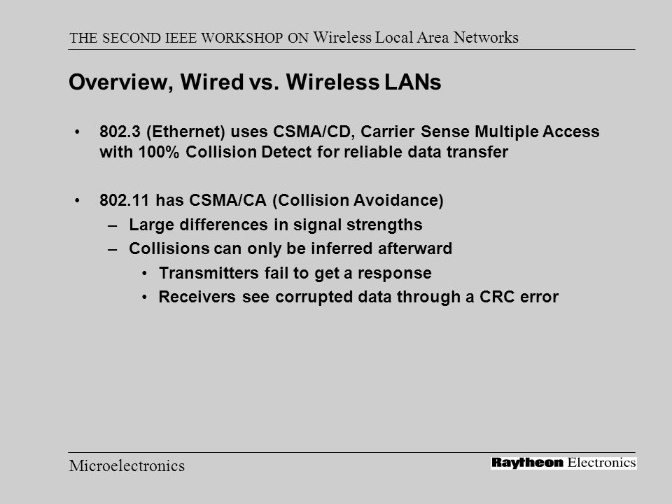 Microelectronics THE SECOND IEEE WORKSHOP ON Wireless Local Area Networks 802.11 Media Access Control Carrier Sense: Listen before talking Handshaking to infer collisions –DATA-ACK packets Collision Avoidance –RTS-CTS-DATA-ACK to request the medium –Duration information in each packet –Random Backoff after collision is determined –Net Allocation Vector (NAV) to reserve bandwidth –Hidden Nodes use CTS duration information