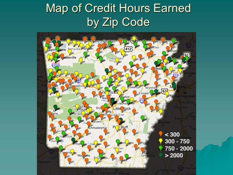 Map of Credit Hours Earned by Zip Code
