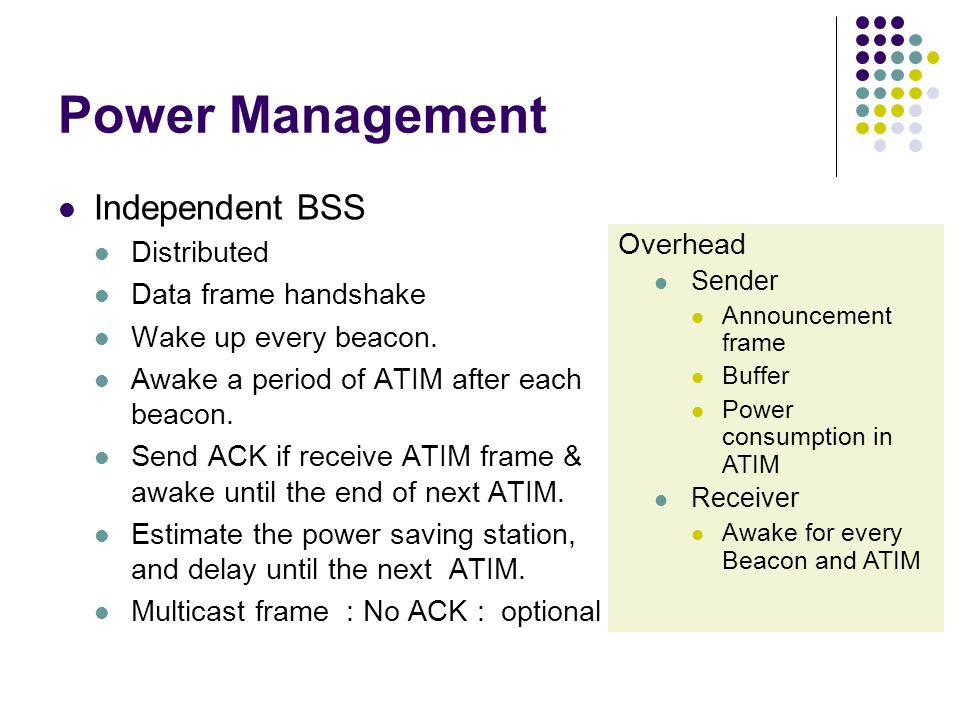 Power Management Independent BSS Distributed Data frame handshake Wake up every beacon.