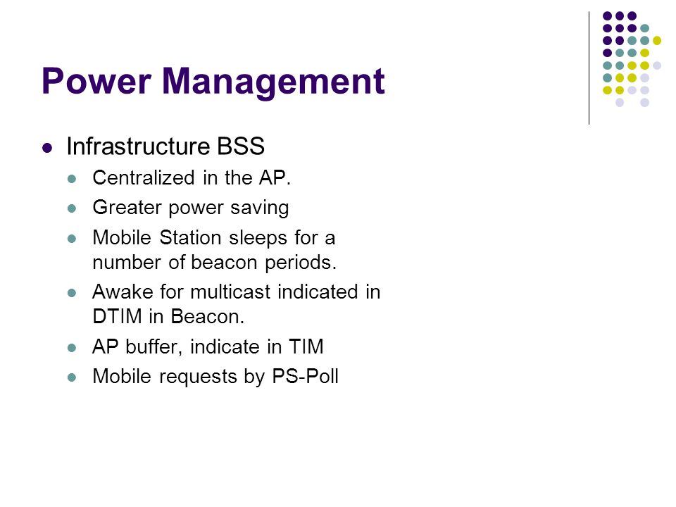 Power Management Infrastructure BSS Centralized in the AP.