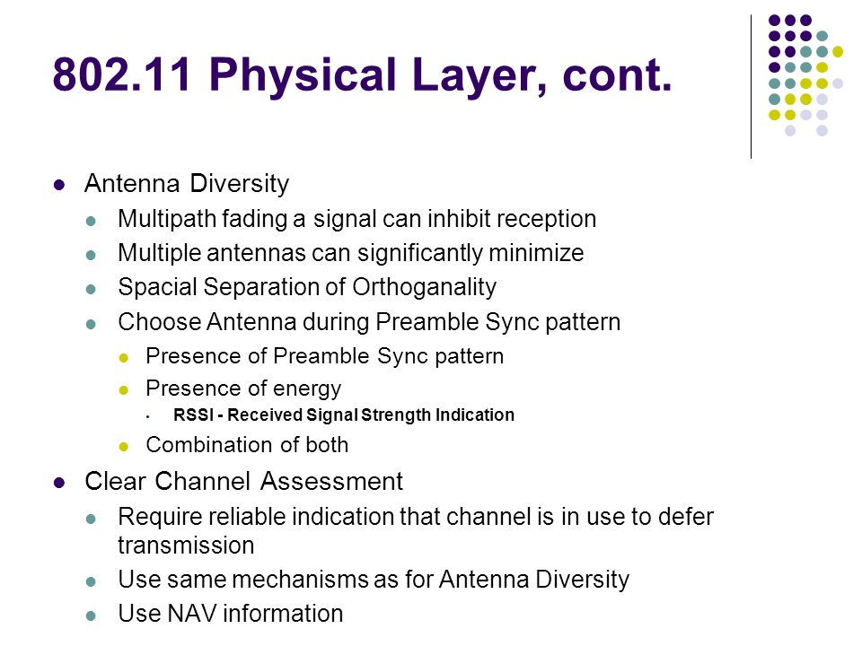 802.11 Physical Layer, cont.