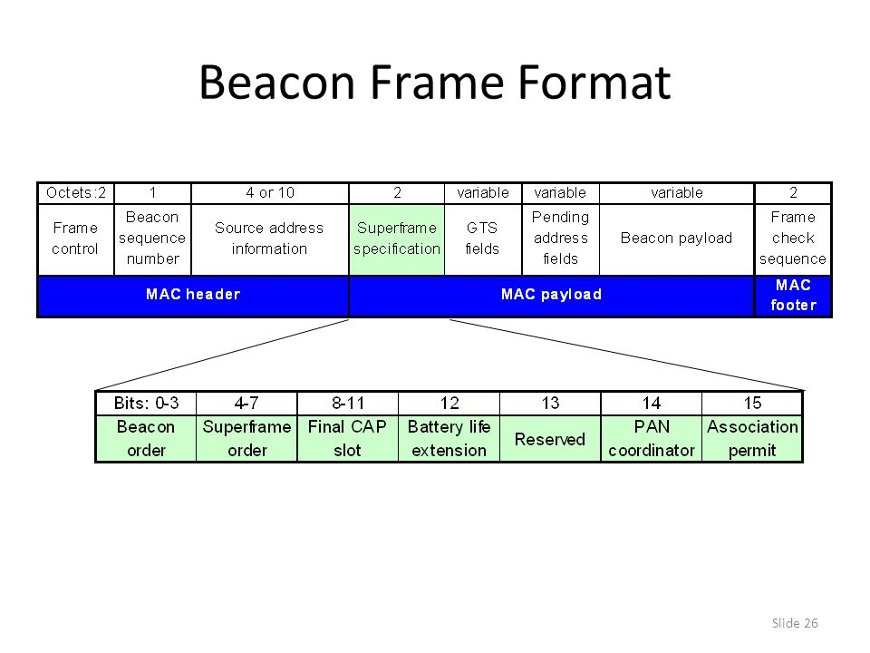 Slide 26 Beacon Frame Format