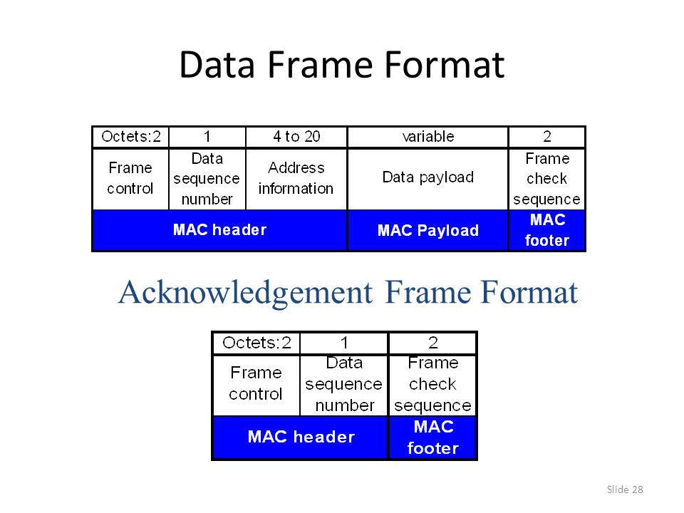Slide 28 Data Frame Format Acknowledgement Frame Format