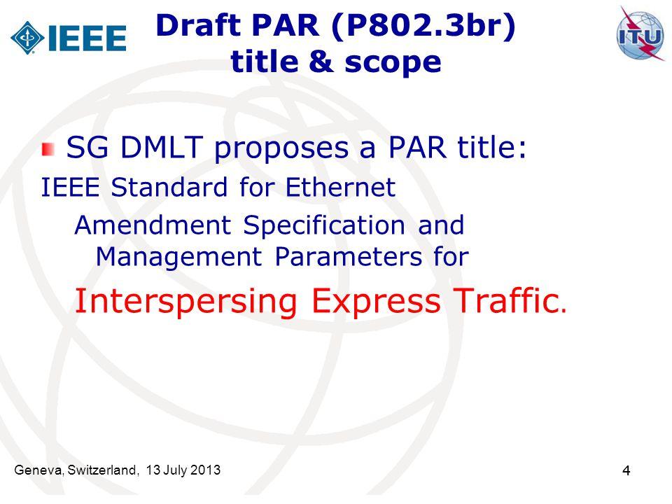 44 Draft PAR (P802.3br) title & scope SG DMLT proposes a PAR title: IEEE Standard for Ethernet Amendment Specification and Management Parameters for I