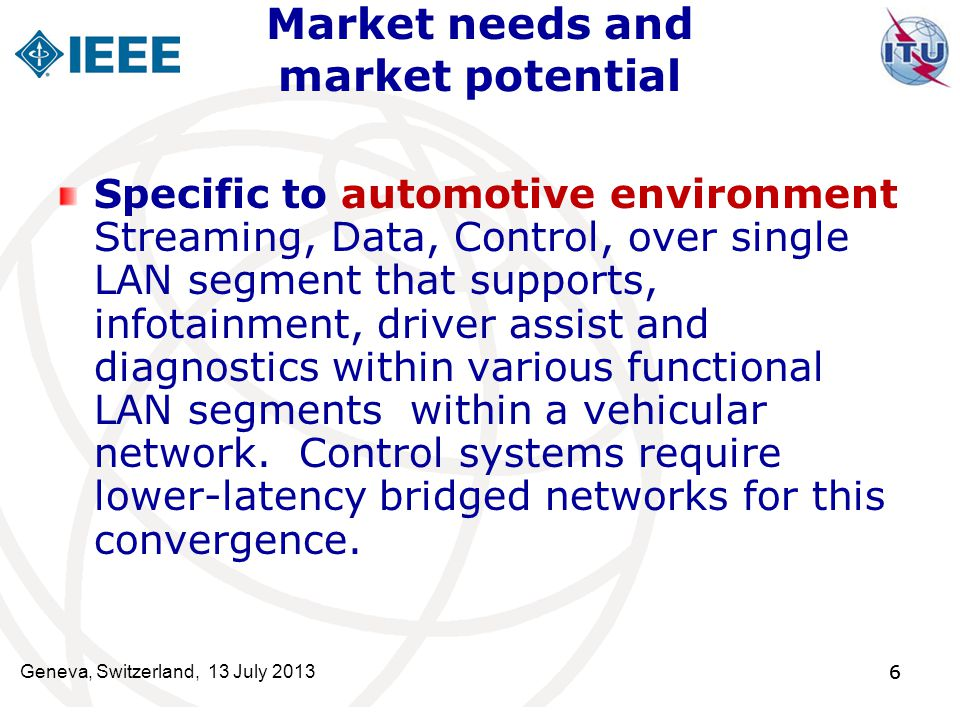 6 Market needs and market potential Specific to automotive environment Streaming, Data, Control, over single LAN segment that supports, infotainment,