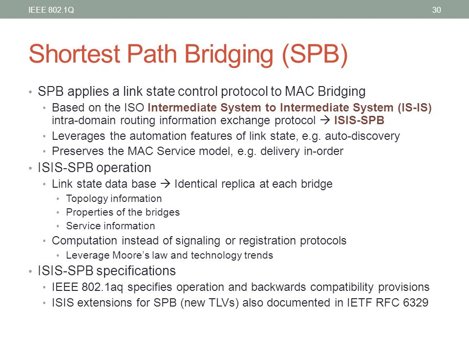 Shortest Path Bridging (SPB) SPB applies a link state control protocol to MAC Bridging Based on the ISO Intermediate System to Intermediate System (IS