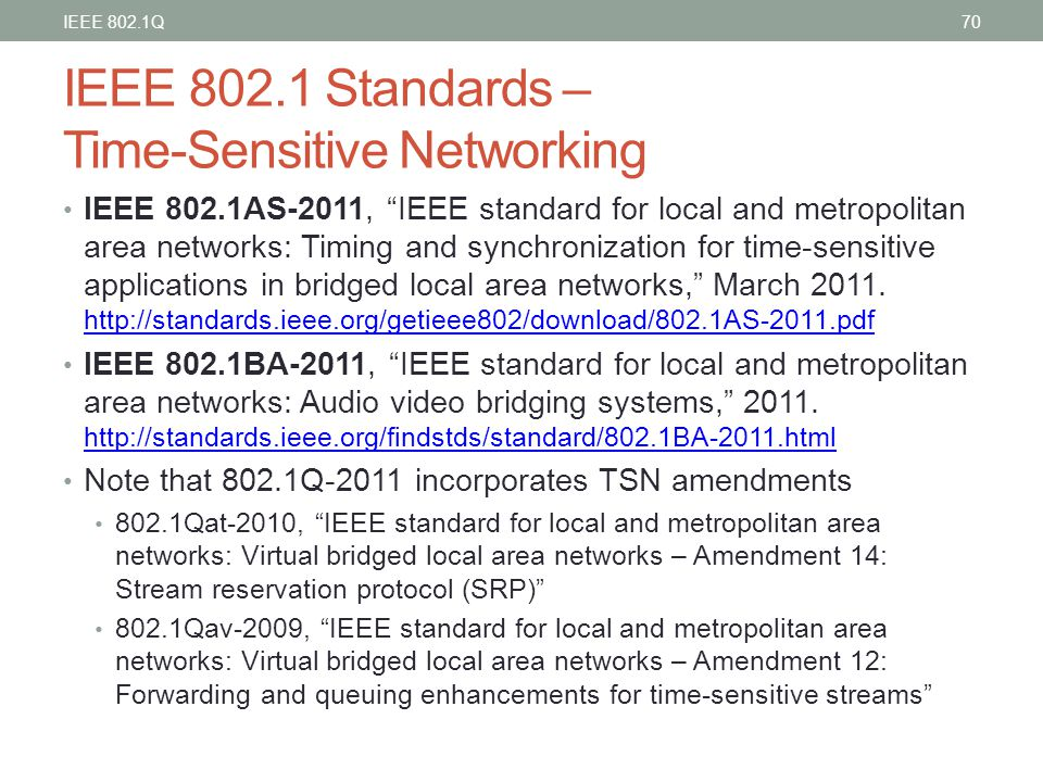 "IEEE 802.1 Standards – Time-Sensitive Networking IEEE 802.1AS-2011, ""IEEE standard for local and metropolitan area networks: Timing and synchronizatio"