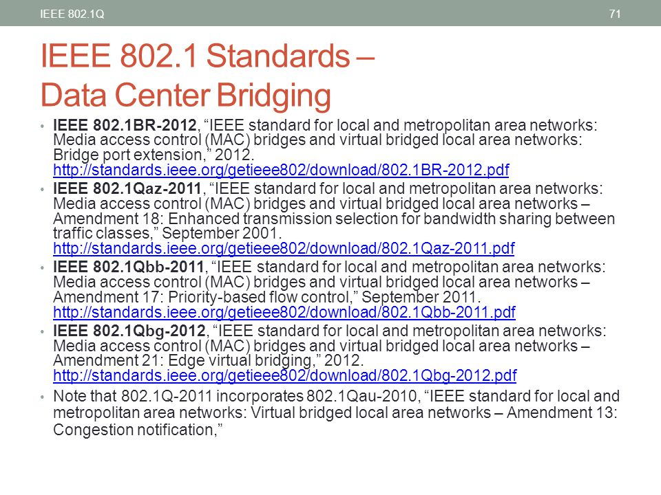 "IEEE 802.1 Standards – Data Center Bridging IEEE 802.1BR-2012, ""IEEE standard for local and metropolitan area networks: Media access control (MAC) bri"