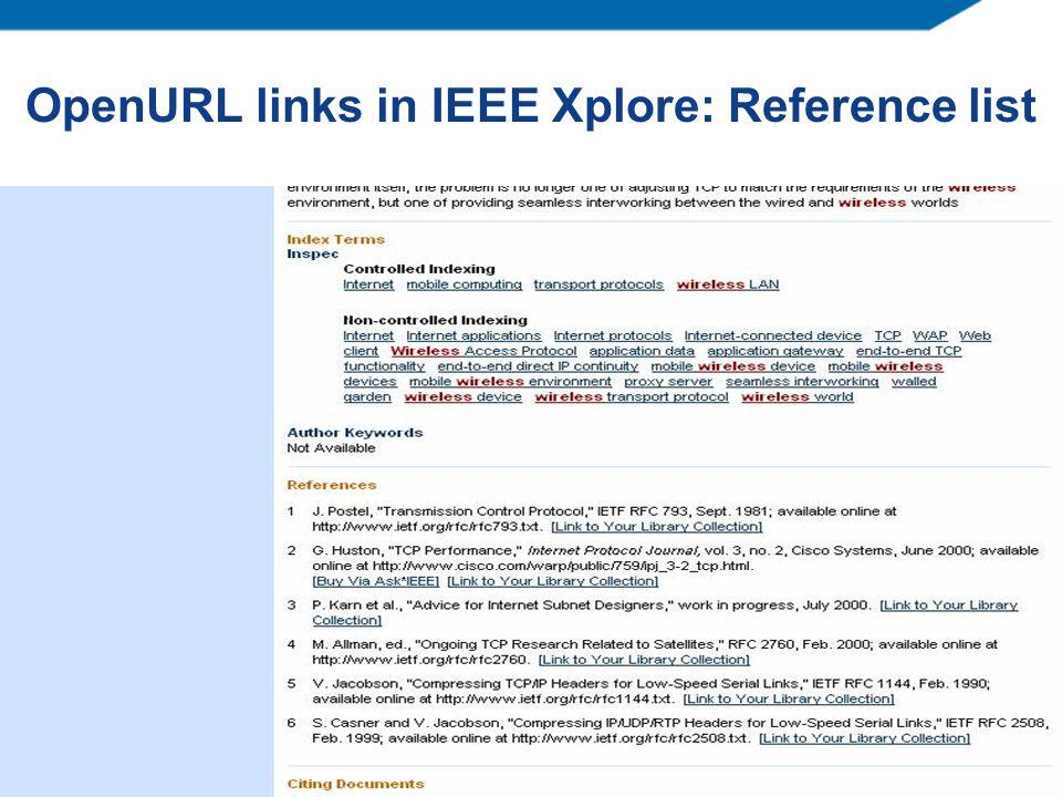 OpenURL links in IEEE Xplore: Reference list