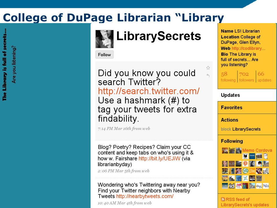 College of DuPage Librarian Library Secrets