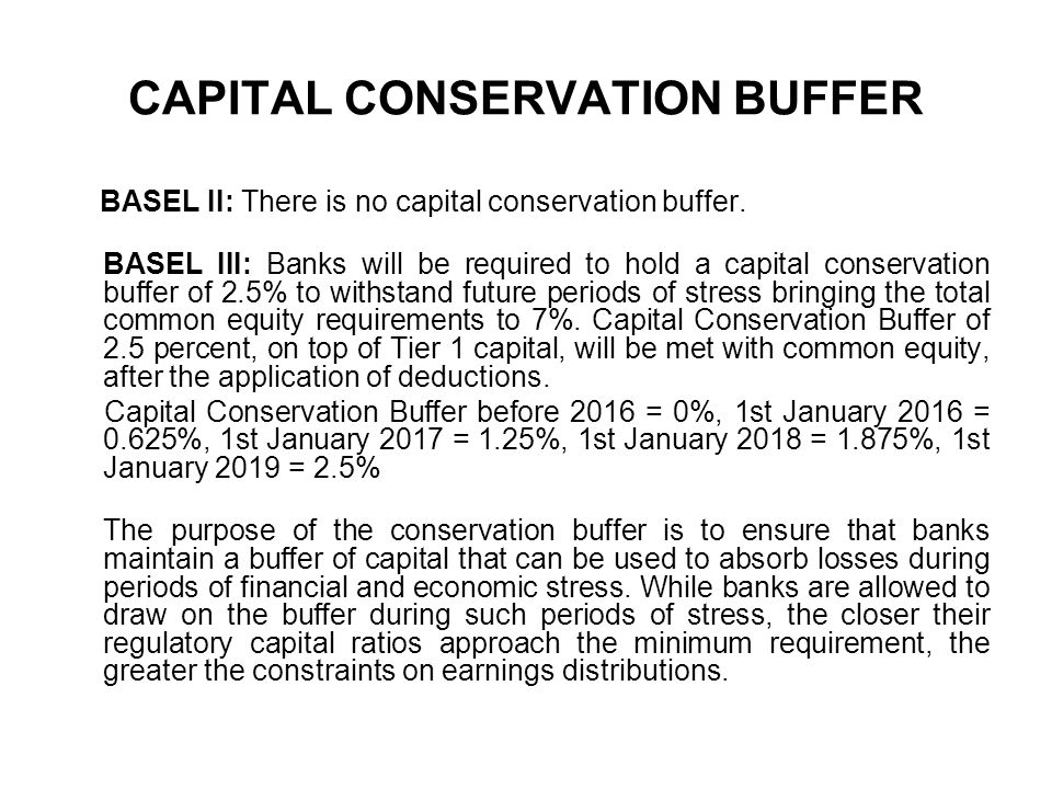 CAPITAL CONSERVATION BUFFER BASEL II: There is no capital conservation buffer. BASEL III: Banks will be required to hold a capital conservation buffer
