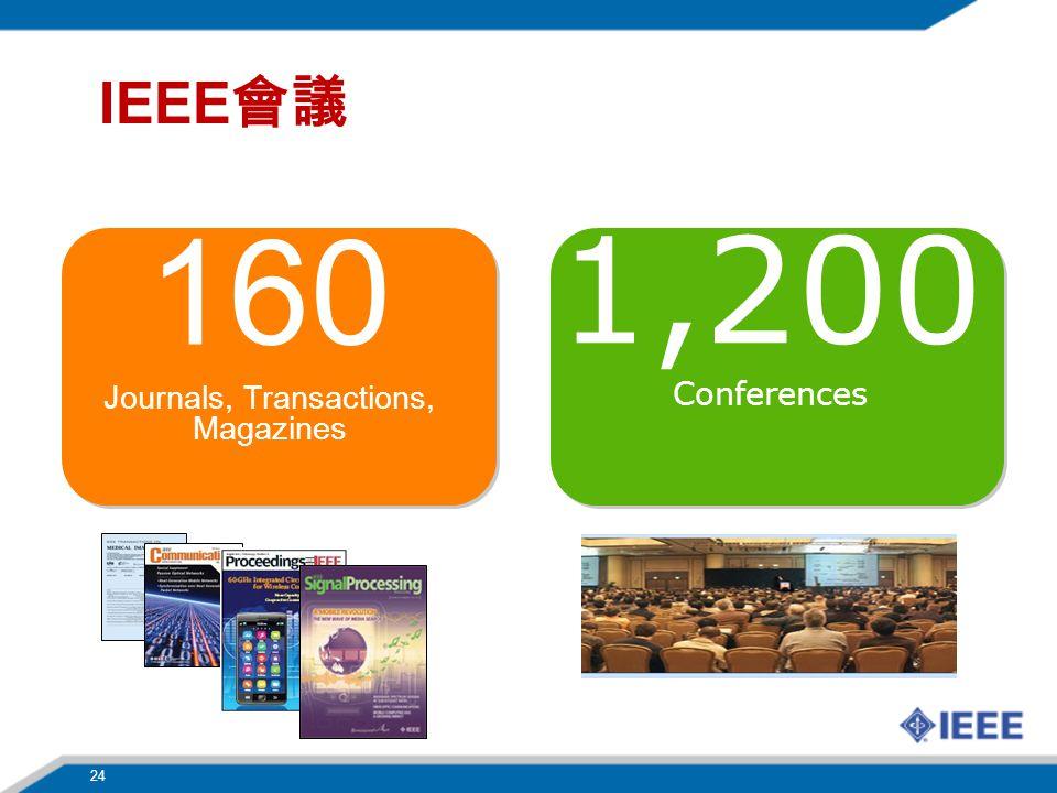 24 IEEE 會議 160 Journals, Transactions, Magazines 1,200 Conferences