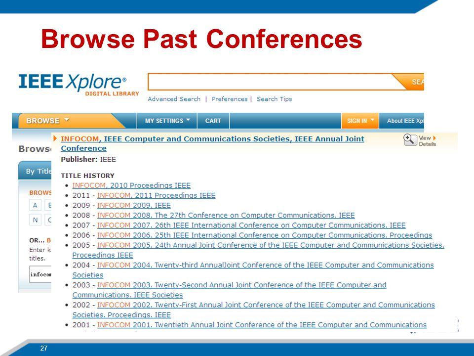 27 Browse Past Conferences