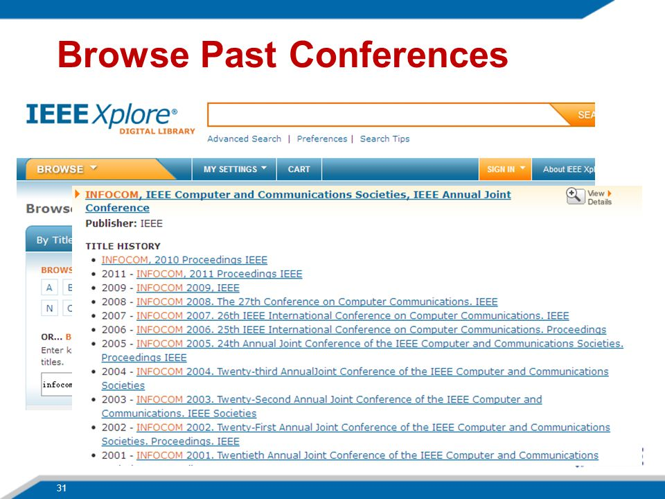 31 Browse Past Conferences
