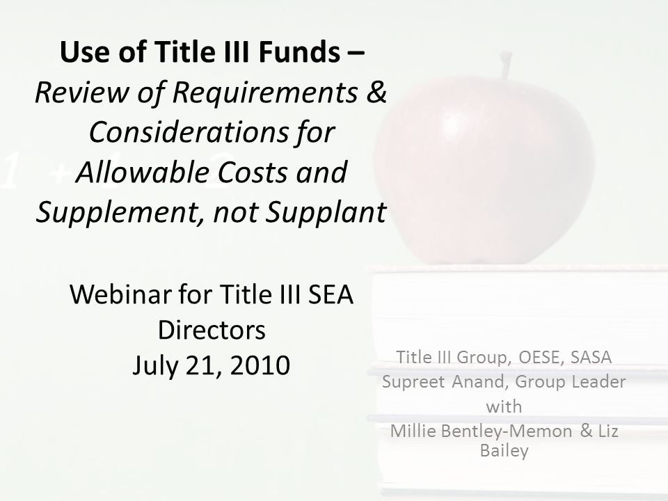 Question #4: Would this be an allowable use of Title III funds.
