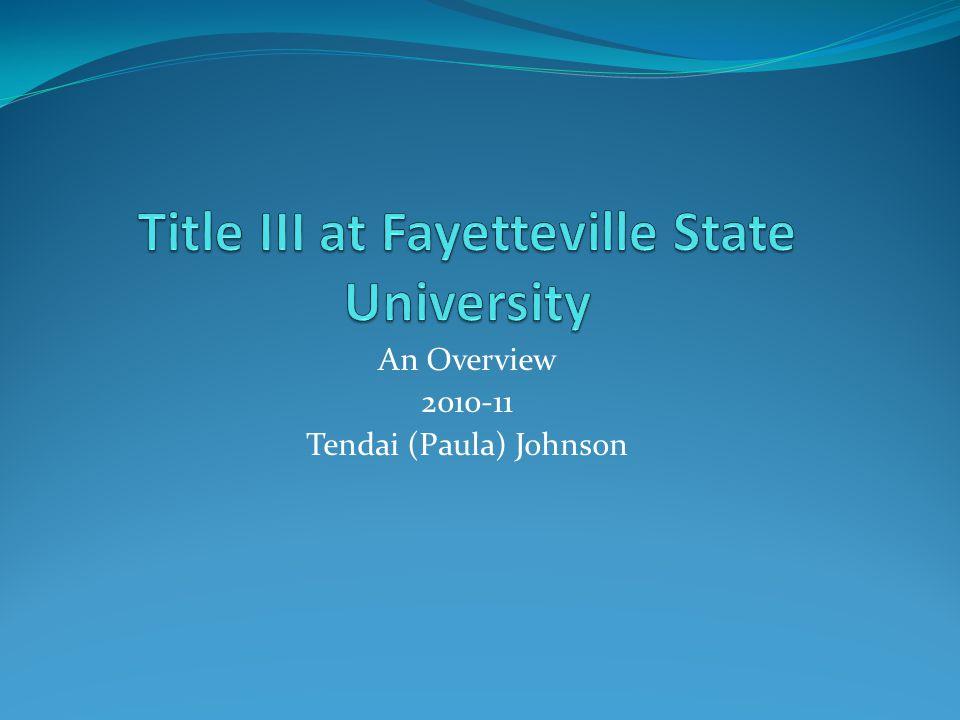 An Overview 2010-11 Tendai (Paula) Johnson