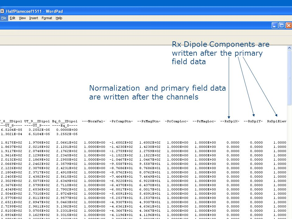 Step 4: Data file formats Description of response and version Survey & Dataset name, time of creation License & solver info System and presentation information Column labels; channel names combine gate and rx names Gate description Station Number X,Y,Z Coordinates Data Normalization and primary field data are written after the channels Rx Dipole Components are written after the primary field data