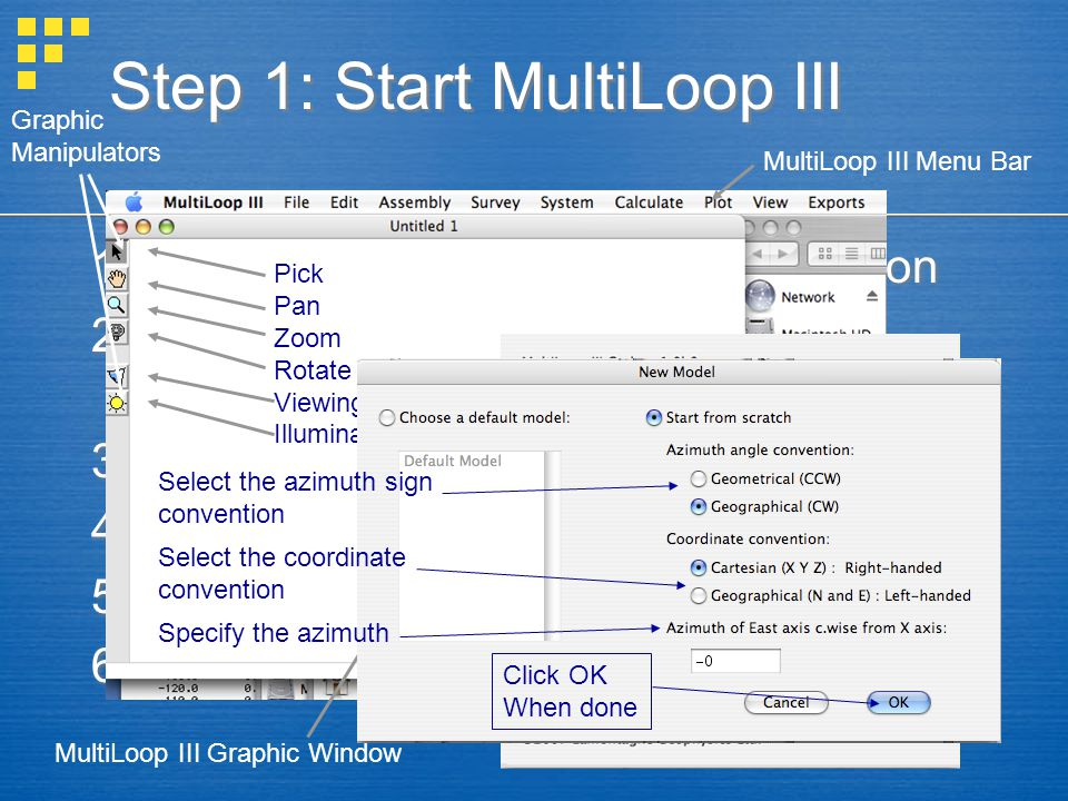 Step 1: Start MultiLoop III 1.Double click on the MultiLoop III Icon 2.The graphic window and a splash screen will appear 3.Click on the splash screen 4.A New Model dialogue will appear 5.Select the coordinate system 6.Go.