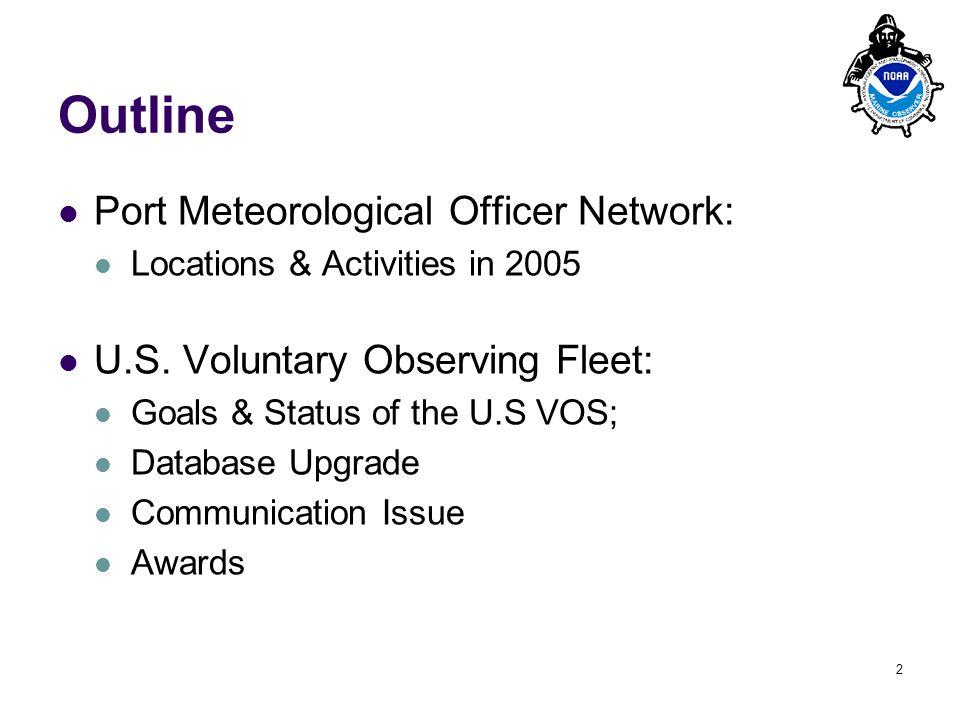 PMO-III, 23-24 March 2006, Hamburg 2 Outline Port Meteorological Officer Network: Locations & Activities in 2005 U.S. Voluntary Observing Fleet: Goals
