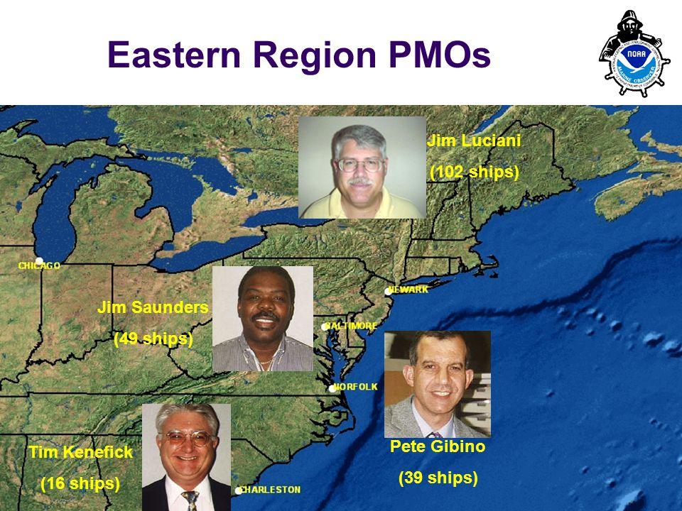 PMO-III, 23-24 March 2006, Hamburg 4 Eastern Region PMOs Jim Luciani (102 ships) Tim Kenefick (16 ships) Jim Saunders (49 ships) Pete Gibino (39 ships