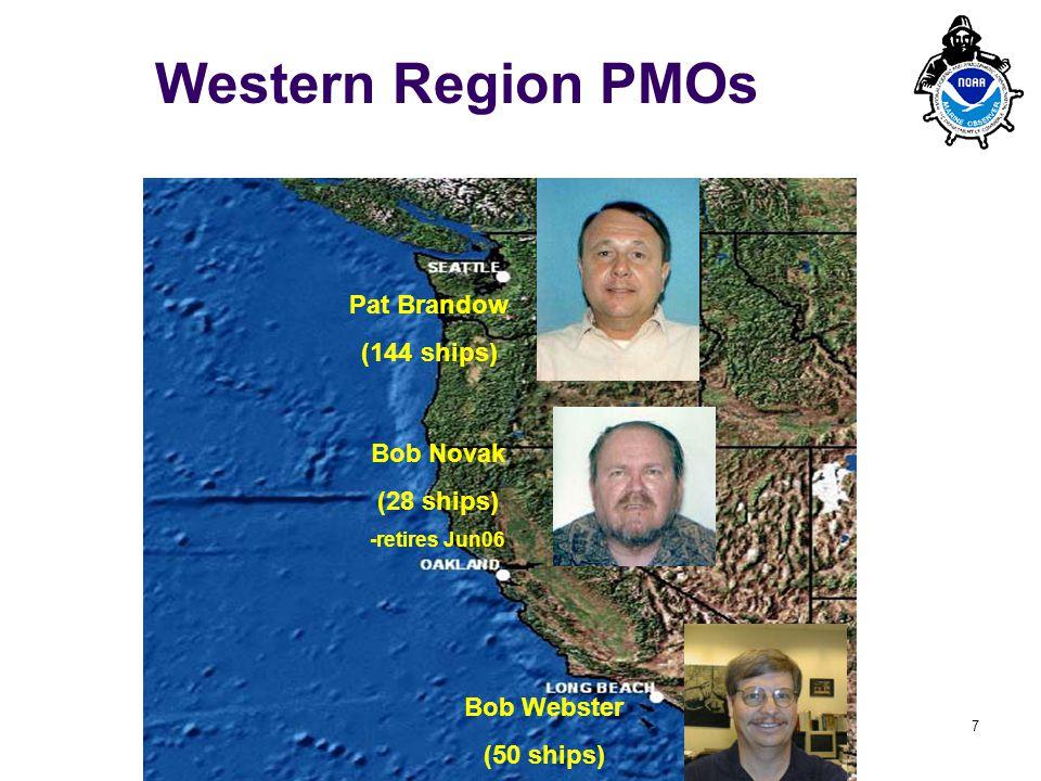 PMO-III, 23-24 March 2006, Hamburg 7 Western Region PMOs Bob Webster (50 ships) Bob Novak (28 ships) -retires Jun06 Pat Brandow (144 ships)