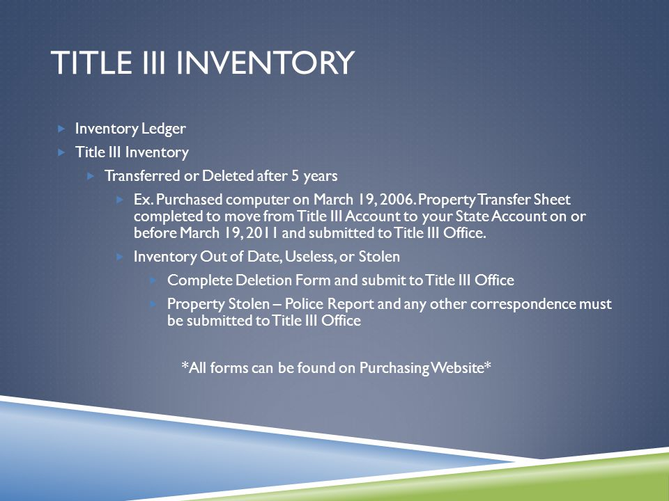 TITLE III INVENTORY  Inventory Ledger  Title III Inventory  Transferred or Deleted after 5 years  Ex.