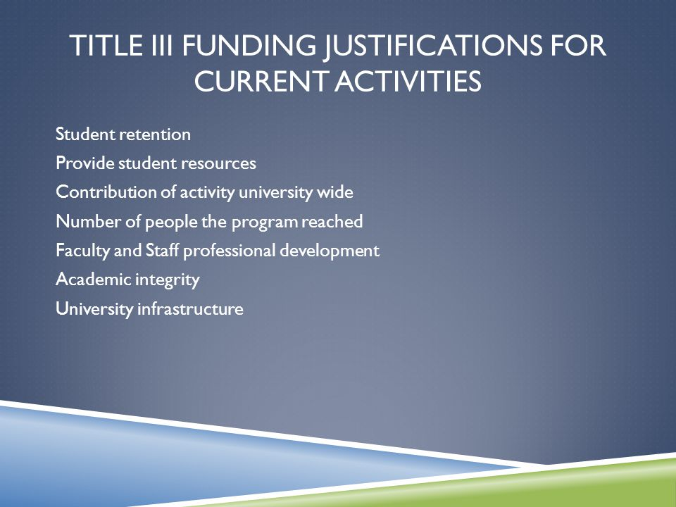 TITLE III FUNDING JUSTIFICATIONS FOR CURRENT ACTIVITIES Student retention Provide student resources Contribution of activity university wide Number of people the program reached Faculty and Staff professional development Academic integrity University infrastructure