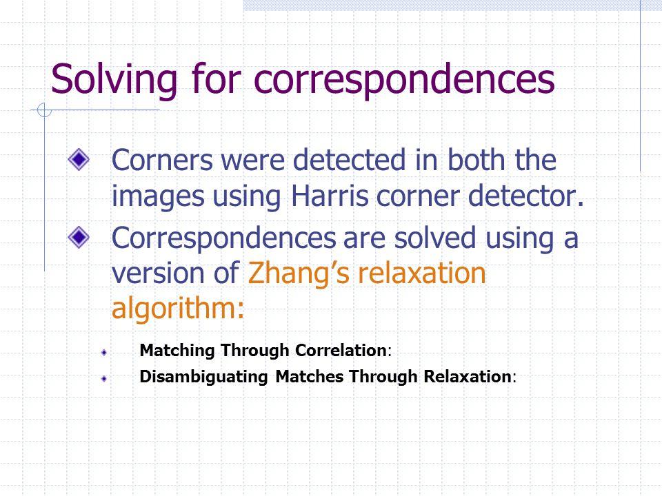 Solving for correspondences Matching through correlation: